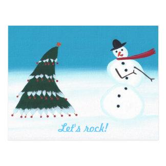 Let's rock, Christmas Tree Snowman Postcards