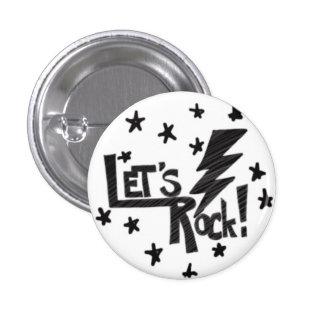 Lets Rock Lightening Bolt Black on White Pinback Button