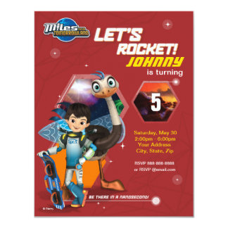 Let's Rocket! Miles From Tomorrowland Birthday 4.25x5.5 Paper Invitation Card