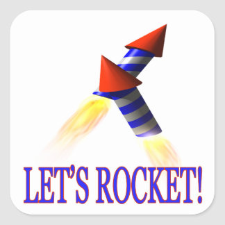 Lets Rocket Square Sticker