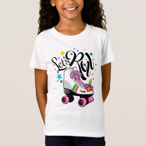 Lets Roll Unicorn Roller skate t_shirt for girls