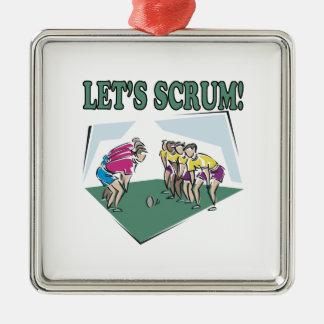 Lets Scrum Square Metal Christmas Ornament