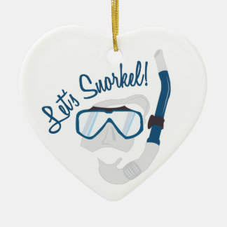 Let's Snorkel! Double-Sided Heart Ceramic Christmas Ornament