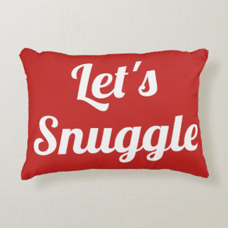 Let's Snuggle Red and White Snowflake Pillow