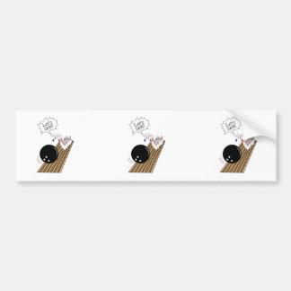 lets split scared bowling pins cartoon humor car bumper sticker