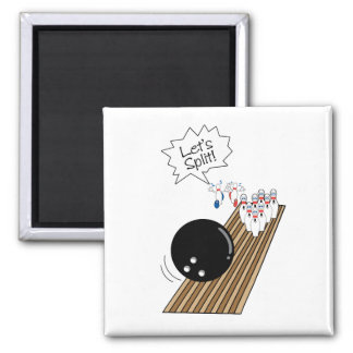lets split scared bowling pins cartoon humor 2 inch square magnet