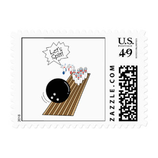 lets split scared bowling pins cartoon humor postage