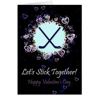 Let's Stick Together Hockey Valentine's Day Card Greeting Card