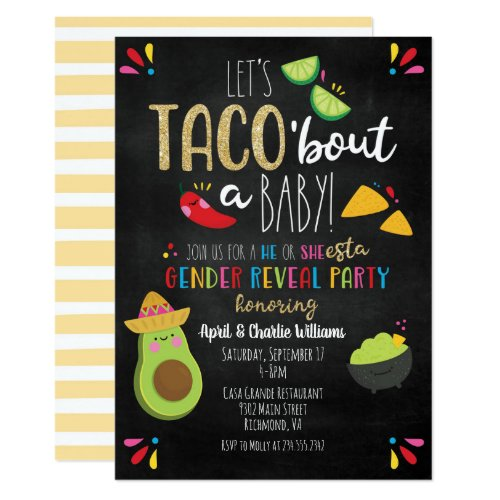 Lets Taco bout a Baby Fiesta Theme Gender Reveal Invitation