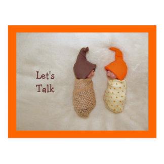 """Let's Talk"": Cute Clay Babies, Polymer Clay Postcard"