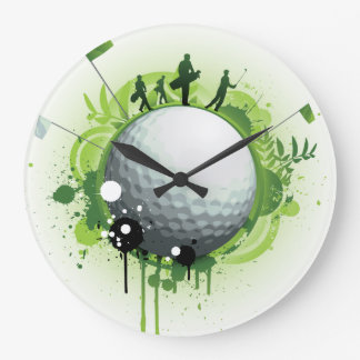 Let's Tee Off For Golf Large Clock