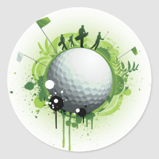 Let's Tee Off For Golf Classic Round Sticker