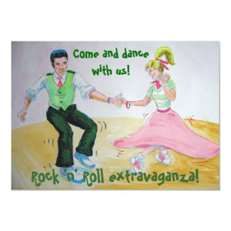Let's twist again swing dancing rock and roll 5x7 paper invitation card