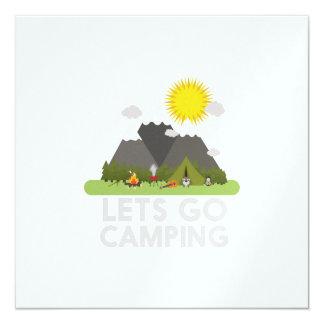 """Lets va a acampar invitación 5.25"""" x 5.25"""""""