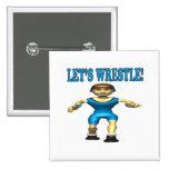 Lets Wrestle 4 2 Inch Square Button
