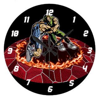 Let's Wrestle Large Clock