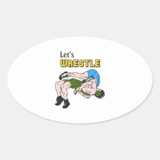 Let's Wrestle Oval Sticker