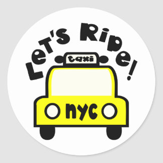Let'sRide! With NYC Retro Taxi Cab Classic Round Sticker