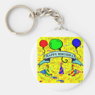 Lets's Have a Party! Basic Round Button Keychain