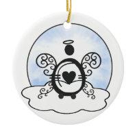Letter 0 Alphabet Initial Monogram w Angel Clouds Christmas Ornaments