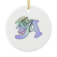 Letter A angel monogram alphabet initial Christmas Ornaments