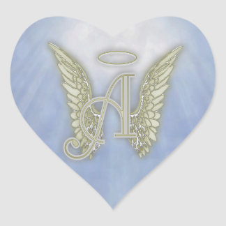 Letter A Angel Monogram Heart Sticker