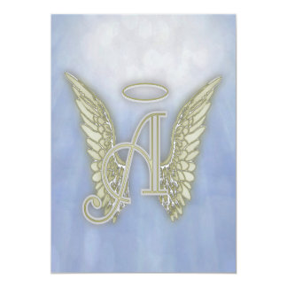 Letter A Angel Monogram 5x7 Paper Invitation Card