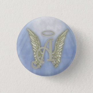 Letter A Angel Monogram Pinback Button