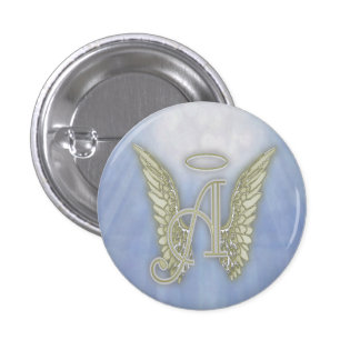 Letter A Angel Monogram Pinback Button