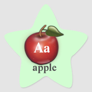 Letter A apple star Stickers
