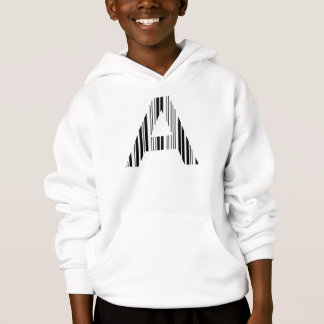 LETTER A BAR CODE First Initial Barcode Pattern Hoodie