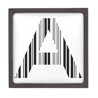 LETTER A BAR CODE First Initial Barcode Pattern Jewelry Box