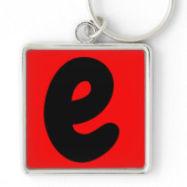 letter a black and red  abecedario, vocal e keychain