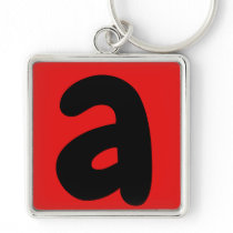 letter a black and red keychain