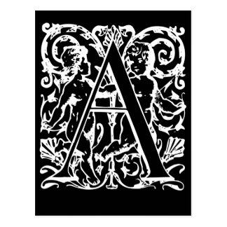 Letter A Black and White Monogram Cards
