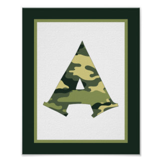 Letter A Camouflage Monogram Initial Wall Art Print