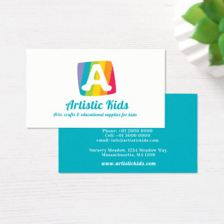 Letter A colorful block stripe art business card