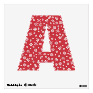 """Letter """" A """" Decal - Snowflakes on Red"""
