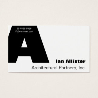 Letter A Gill font Business Card