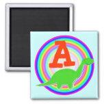 Letter A Green Dinosaur Diplodocus Fridge Magnet