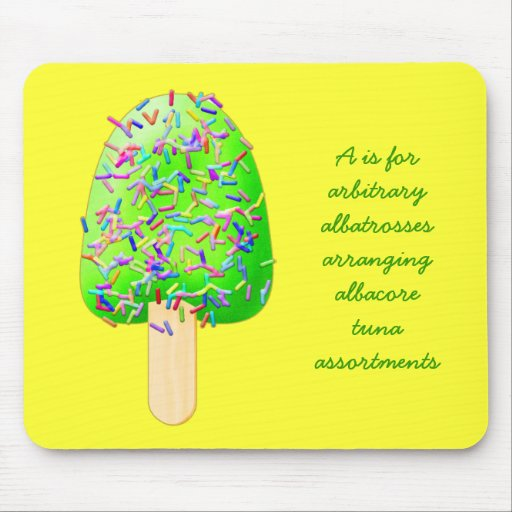 Letter A Ice Cream Sprinkles Popsicle Mouse Pad