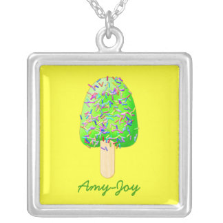 Letter A Ice Cream Sprinkles Popsicle Silver Plated Necklace