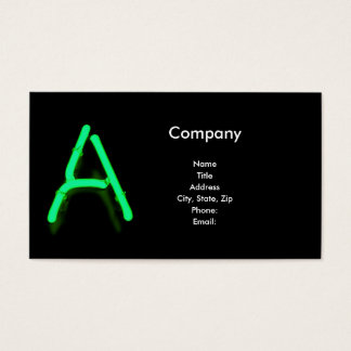 """Letter """"A"""" in Neon Green Business Card"""
