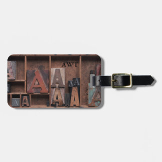letter A in wood and metal type Bag Tag