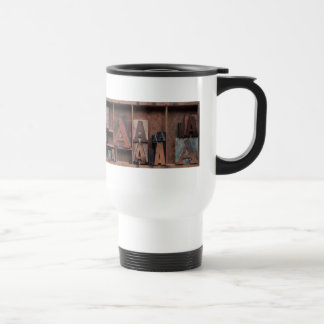letter A in wood and metal type commuter mug