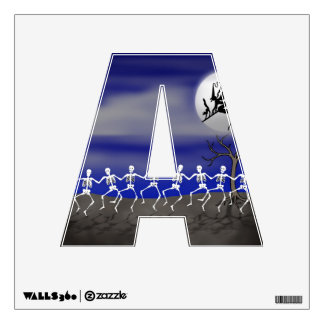 Letter A Initial - Halloween Moonlit Party Scene Wall Sticker