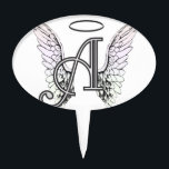 """Letter A Initial Monogram with Angel Wings &amp; Halo Cake Topper<br><div class=""""desc"""">Letter A Initial Monogram with Angel Wings &amp; Halo designed by Amelia Carrie for AmelianAngels, com</div>"""