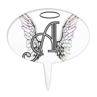 Letter A Initial Monogram with Angel Wings & Halo Cake Topper