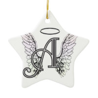 Letter A Initial Monogram with Angel Wings & Halo Christmas Ornament