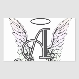 Letter A Initial Monogram with Angel Wings & Halo Sticker